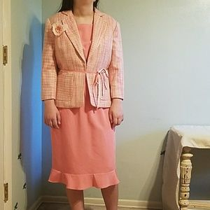 👠Bob Mackie pink tweed jacket and pink sheath